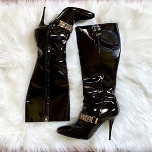 Burberry Black Patent Leather Knee High Boots